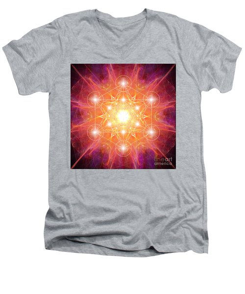 Metatron's Cube Shiny Men's V-Neck T-Shirt