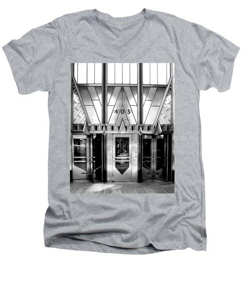 Metropolis Men's V-Neck T-Shirt by Art Shimamura