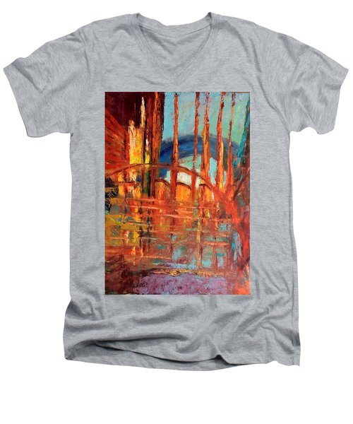 Metropolis In Space Men's V-Neck T-Shirt