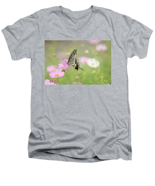 Mexican Aster With Butterfly Men's V-Neck T-Shirt by Hyuntae Kim