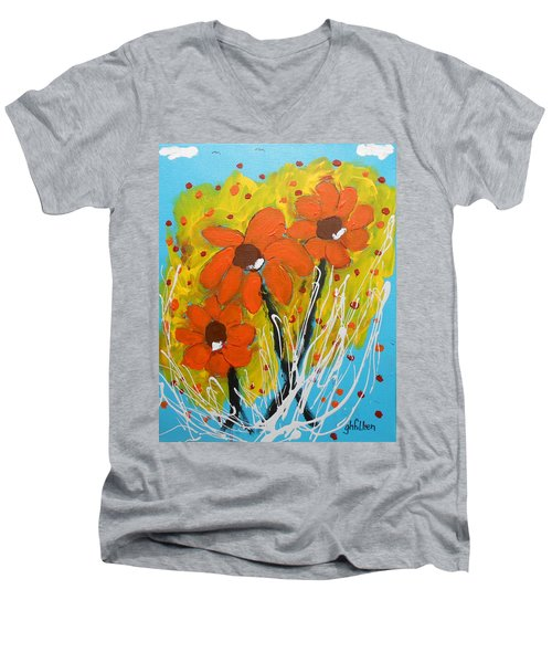 Mexican Sunflowers Flower Garden Men's V-Neck T-Shirt