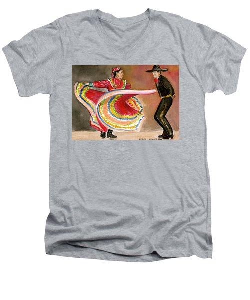 Mexico City Ballet Folklorico Men's V-Neck T-Shirt by Frank Hunter