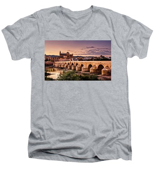 Mezquita In The Evening Men's V-Neck T-Shirt by Marion McCristall