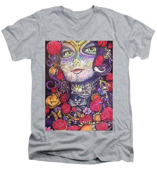 Mia De Los Muertos Men's V-Neck T-Shirt