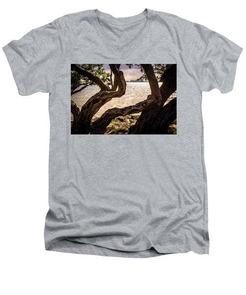 Miami At A Distance Men's V-Neck T-Shirt by Camille Lopez