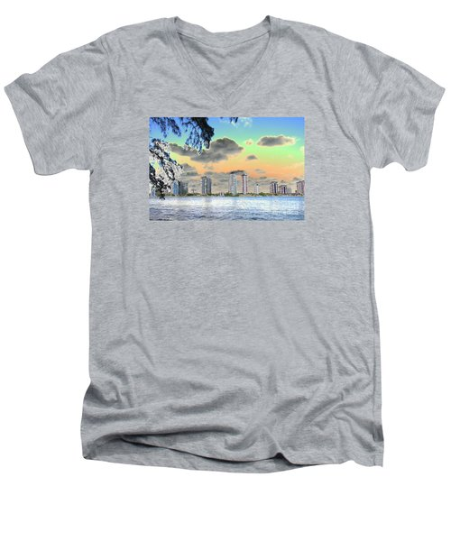 Miami Skyline Abstract Men's V-Neck T-Shirt