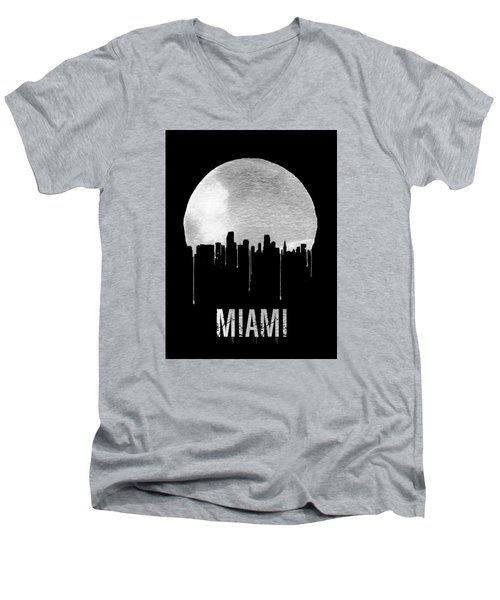 Miami Skyline Black Men's V-Neck T-Shirt