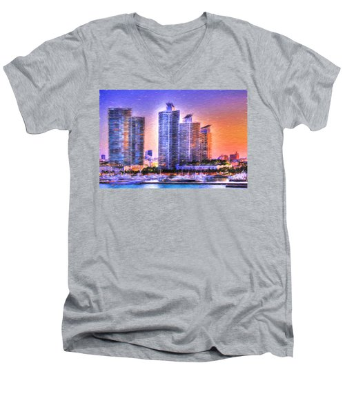 Men's V-Neck T-Shirt featuring the photograph Miami Skyline Sunrise by Shelley Neff