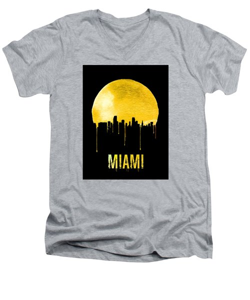 Miami Skyline Yellow Men's V-Neck T-Shirt by Naxart Studio
