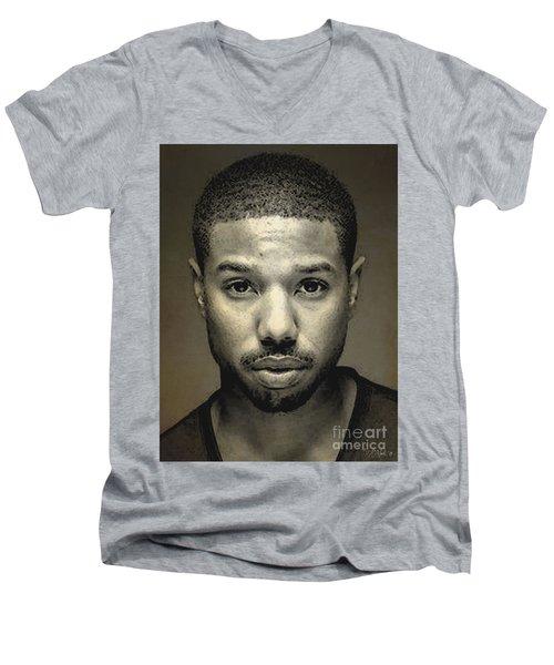 A Portrait Of Michael B. Jordan Men's V-Neck T-Shirt