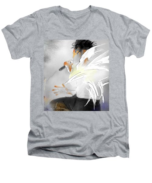 Michael Jackson 08 Men's V-Neck T-Shirt