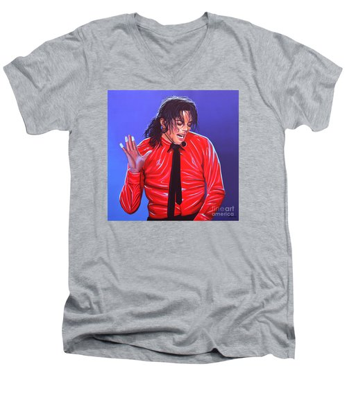 Michael Jackson 2 Men's V-Neck T-Shirt by Paul Meijering