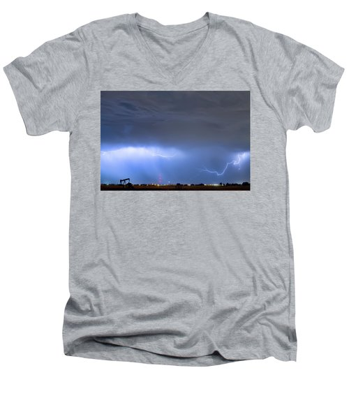 Men's V-Neck T-Shirt featuring the photograph Michelangelo Lightning Strikes Oil by James BO Insogna