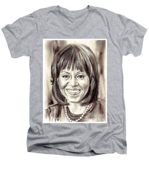Michelle Obama Watercolor Portrait Men's V-Neck T-Shirt