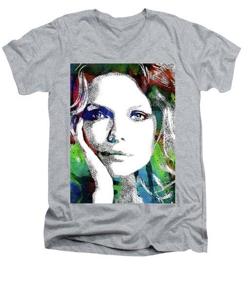 Michelle Pfeiffer Men's V-Neck T-Shirt by Mihaela Pater
