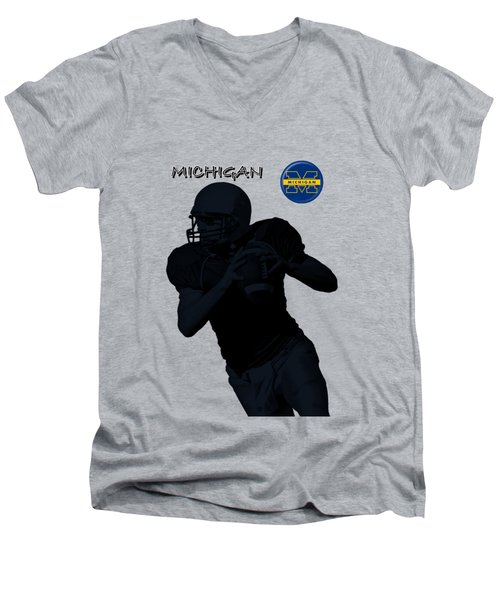 Michigan Football  Men's V-Neck T-Shirt by David Dehner