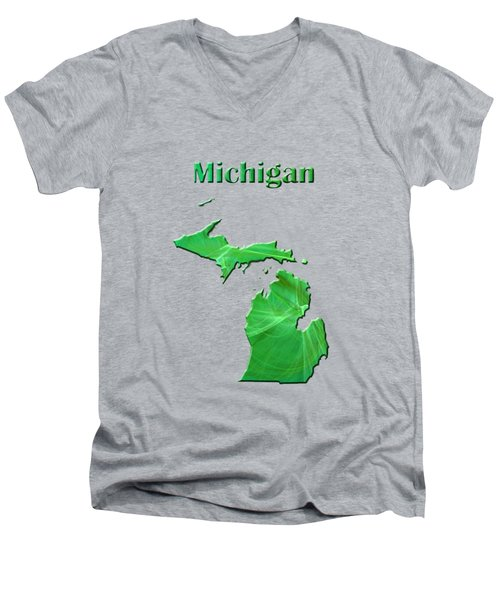 Michigan Map Men's V-Neck T-Shirt by Roger Wedegis