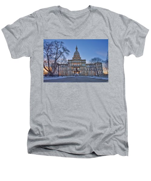 Men's V-Neck T-Shirt featuring the photograph Michigan State Capitol by Nicholas Grunas