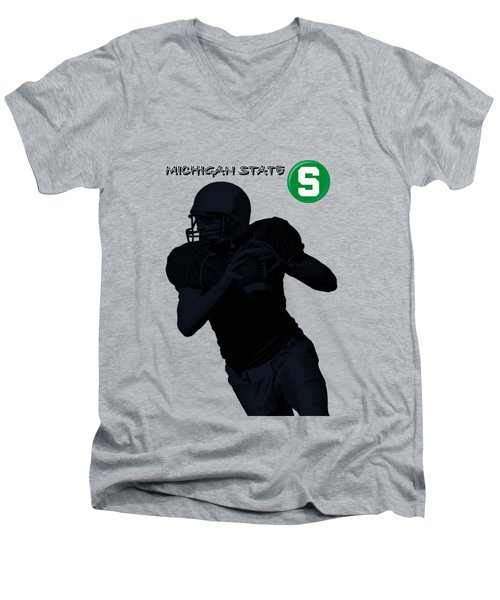 Michigan State Football Men's V-Neck T-Shirt by David Dehner