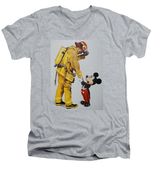 Mickey And The Bravest Men's V-Neck T-Shirt by Rob Hans