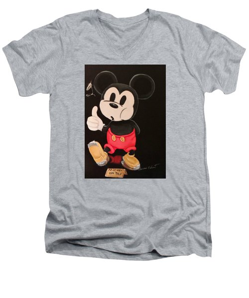 Mickey On Tap Men's V-Neck T-Shirt by Susan Roberts