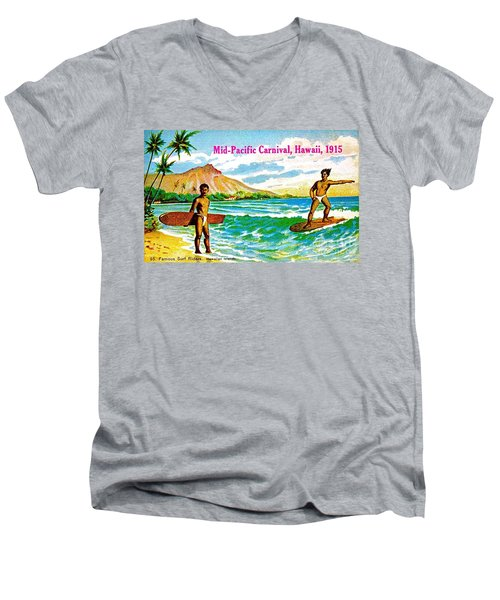 Men's V-Neck T-Shirt featuring the painting Mid Pacific Carnival Hawaii Surfing 1915 by Peter Gumaer Ogden
