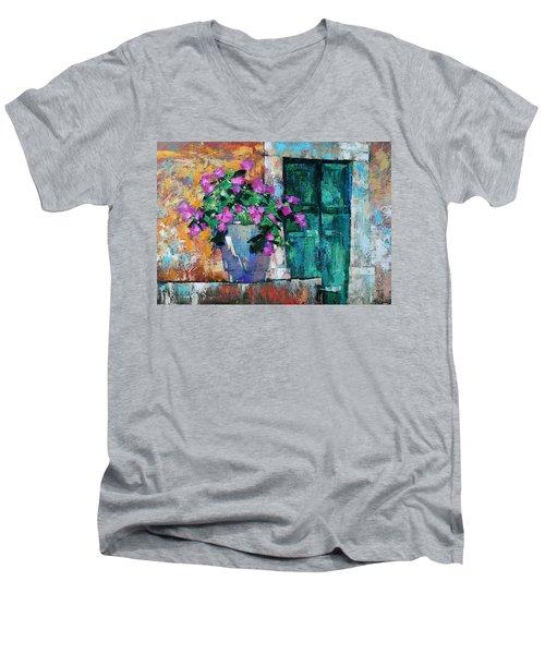 Men's V-Neck T-Shirt featuring the painting Mid Summer by Anastasija Kraineva