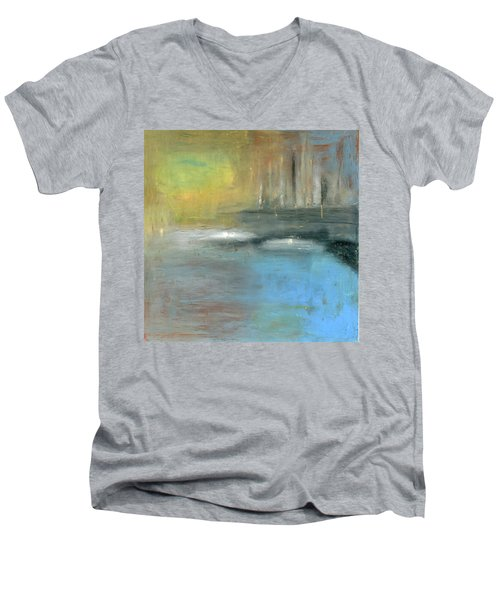 Men's V-Neck T-Shirt featuring the painting Mid-summer Glow by Michal Mitak Mahgerefteh