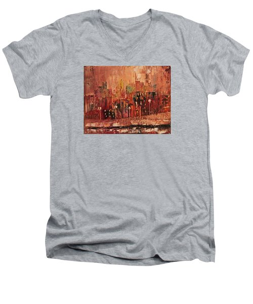 Men's V-Neck T-Shirt featuring the painting Mid Town by John Stuart Webbstock