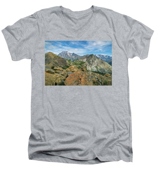 Midday At Iron Peak Men's V-Neck T-Shirt by Ken Stanback
