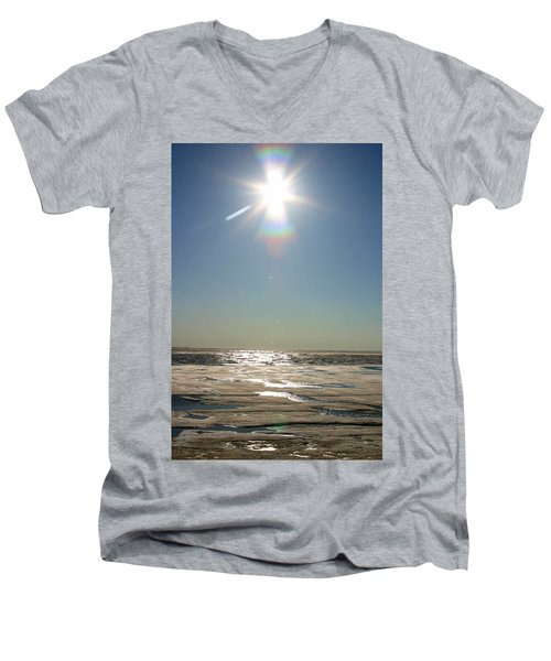 Midnight Sun Over The Arctic Men's V-Neck T-Shirt