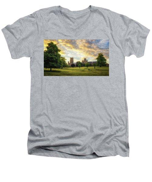 Midsummer Evening In Ely Men's V-Neck T-Shirt