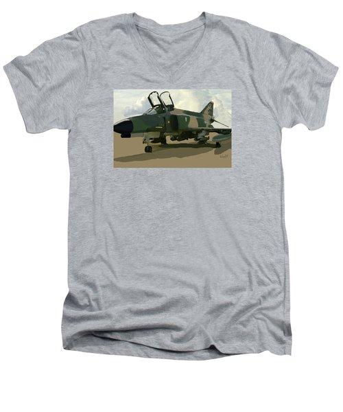 Men's V-Neck T-Shirt featuring the digital art Mig Killer by Walter Chamberlain