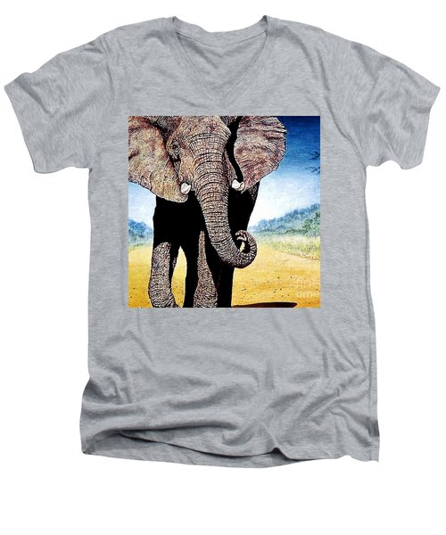 Mighty Elephant Men's V-Neck T-Shirt by Hartmut Jager