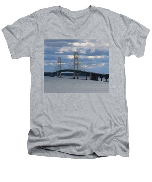 Mighty Mac The Mackinac Bridge Men's V-Neck T-Shirt