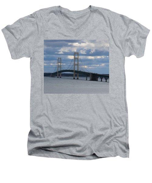 Mighty Mac The Mackinac Bridge Men's V-Neck T-Shirt