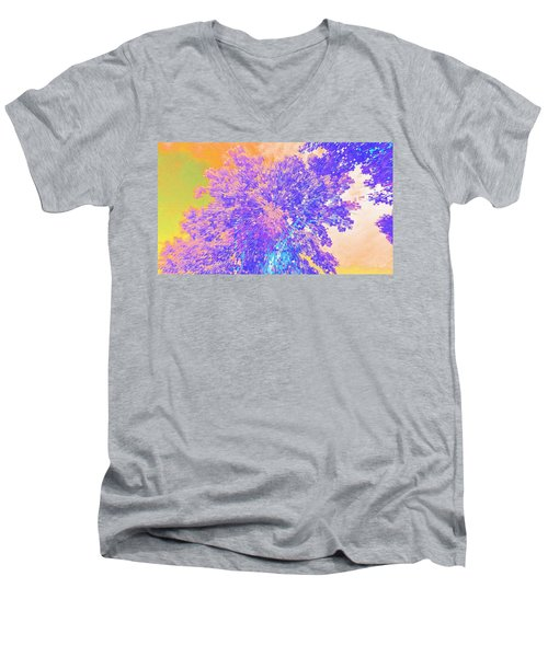 Men's V-Neck T-Shirt featuring the mixed media Mighty Oak Abstract by Mike Breau