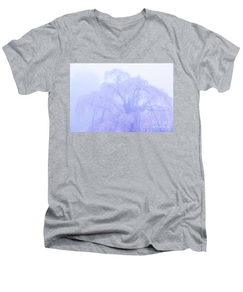 Miharu Takizakura Weeping Cherry01 Men's V-Neck T-Shirt by Tatsuya Atarashi