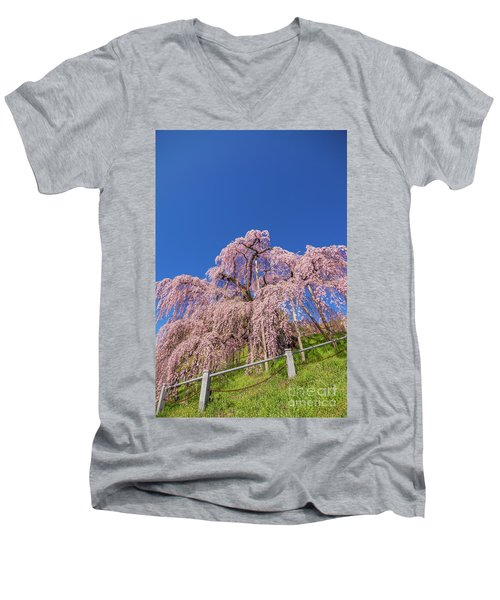 Men's V-Neck T-Shirt featuring the photograph Miharu Takizakura Weeping Cherry32 by Tatsuya Atarashi