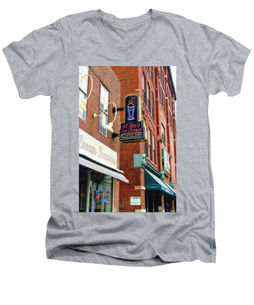 Mike's Ice Cream And Coffee Bar Men's V-Neck T-Shirt by Sandy MacGowan