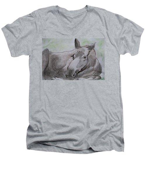 Mildred The Moose Resting Men's V-Neck T-Shirt