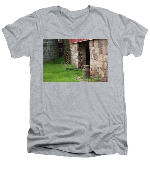 Milk Can At Stone Barn Men's V-Neck T-Shirt