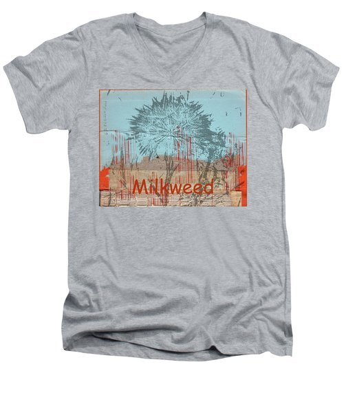 Milkweed Collage Men's V-Neck T-Shirt by Cynthia Powell