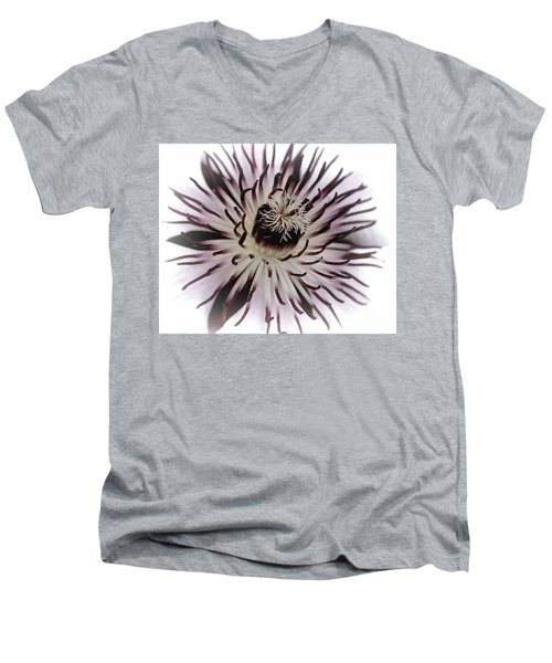 Men's V-Neck T-Shirt featuring the photograph Milky Clematis by Baggieoldboy