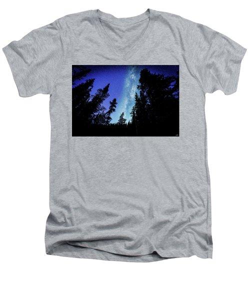Milky Way Among The Trees Men's V-Neck T-Shirt