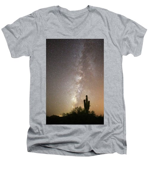 Milky Way And Saguaro Cactus Men's V-Neck T-Shirt