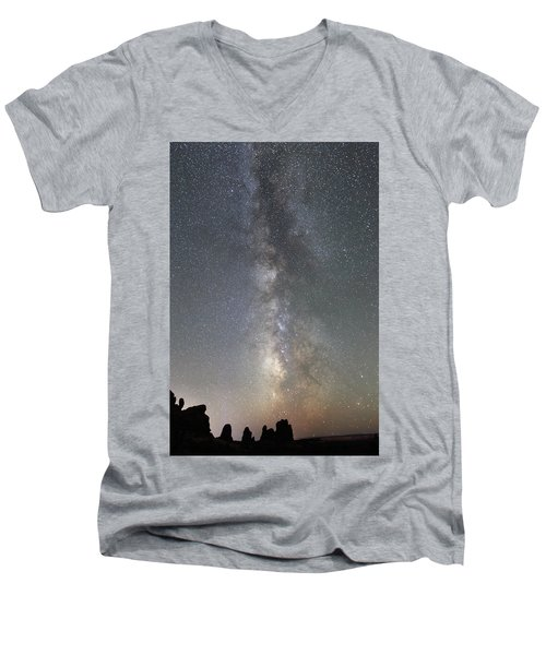 Milky Way Over Arches Np Two Men's V-Neck T-Shirt