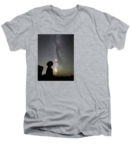 Milky Way Over Arches Np Three Men's V-Neck T-Shirt