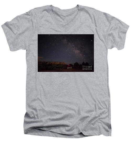Men's V-Neck T-Shirt featuring the photograph Milky Way Over White Pocket Campground by Anne Rodkin
