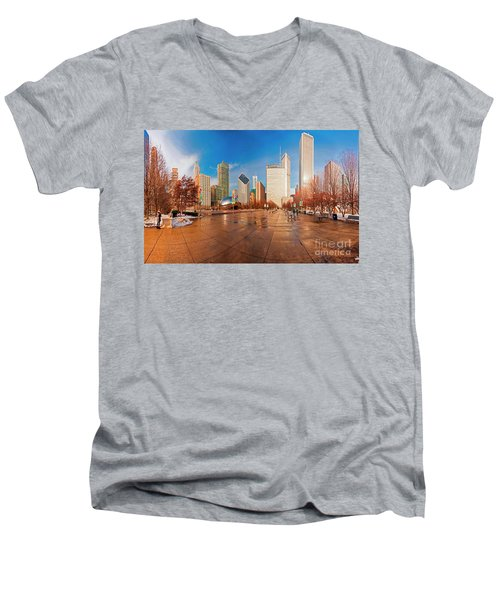 Millennium Park Skyline And The Bean  Men's V-Neck T-Shirt